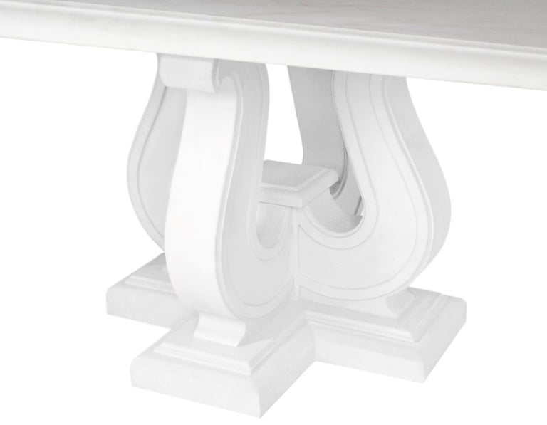 European Square Coffee Table White Marble Top handmade  Lyre white Lacquered Wooden Base  For Sale
