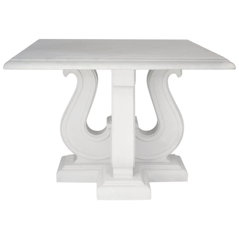 Square Coffee Table White Marble Top handmade  Lyre white Lacquered Wooden Base  For Sale