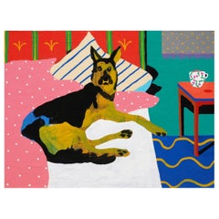 'Coffee in Bed' Dog Portrait Painting by Alan Fears Pop Art