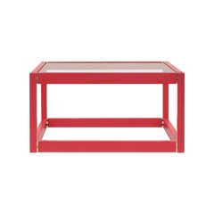 GHYCZY Coffee or Side Table Embassy Kirk T83 Clear Glass, Red Table