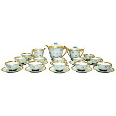 Coffee or Tea Porcelain Limoges Set Gold Banded and Flowers