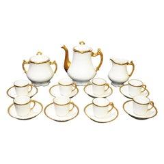 Coffee or Tea Porcelain Limoges Set Gold Banded