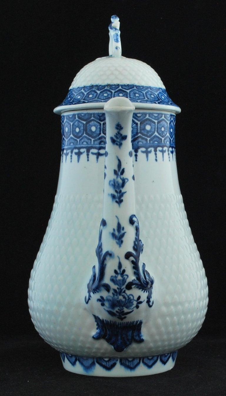 Rococo Coffee Pot, Bow Porcelain Factory, circa 1767 For Sale