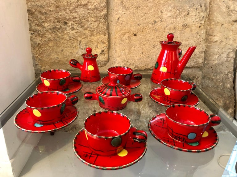 Coffee set by Cerenne Atelier, signed Neveux Vallauris, circa 1950