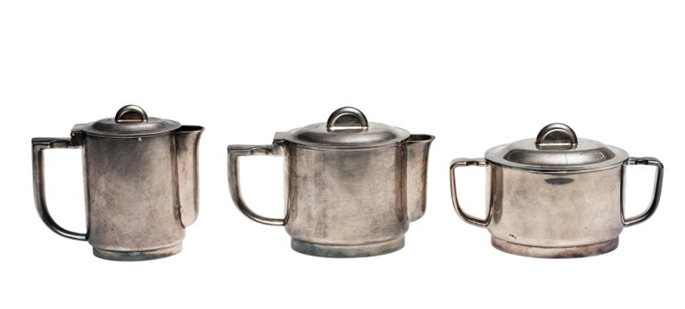 Italian Coffee Set by Giò Ponti and Arthur Krupp Berndorf, Silver Plate, 1930s For Sale