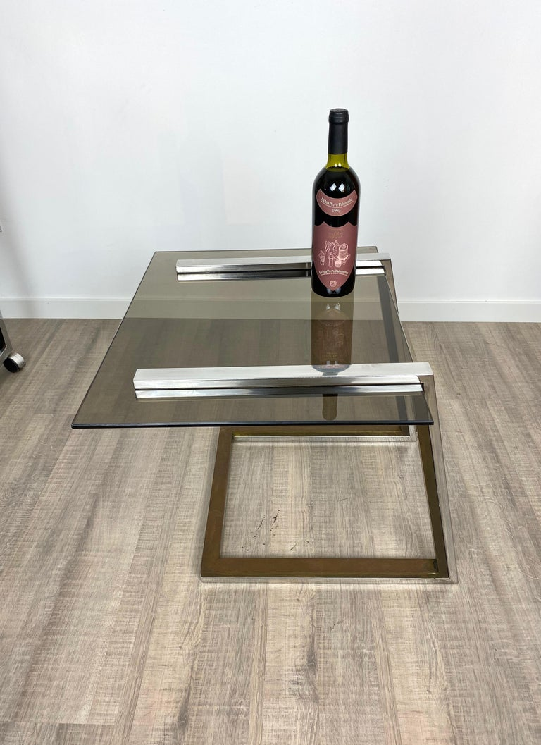 Coffee Side Table Brass Chrome and Smoked Glass Italy 1970s Romeo Rega style For Sale 3