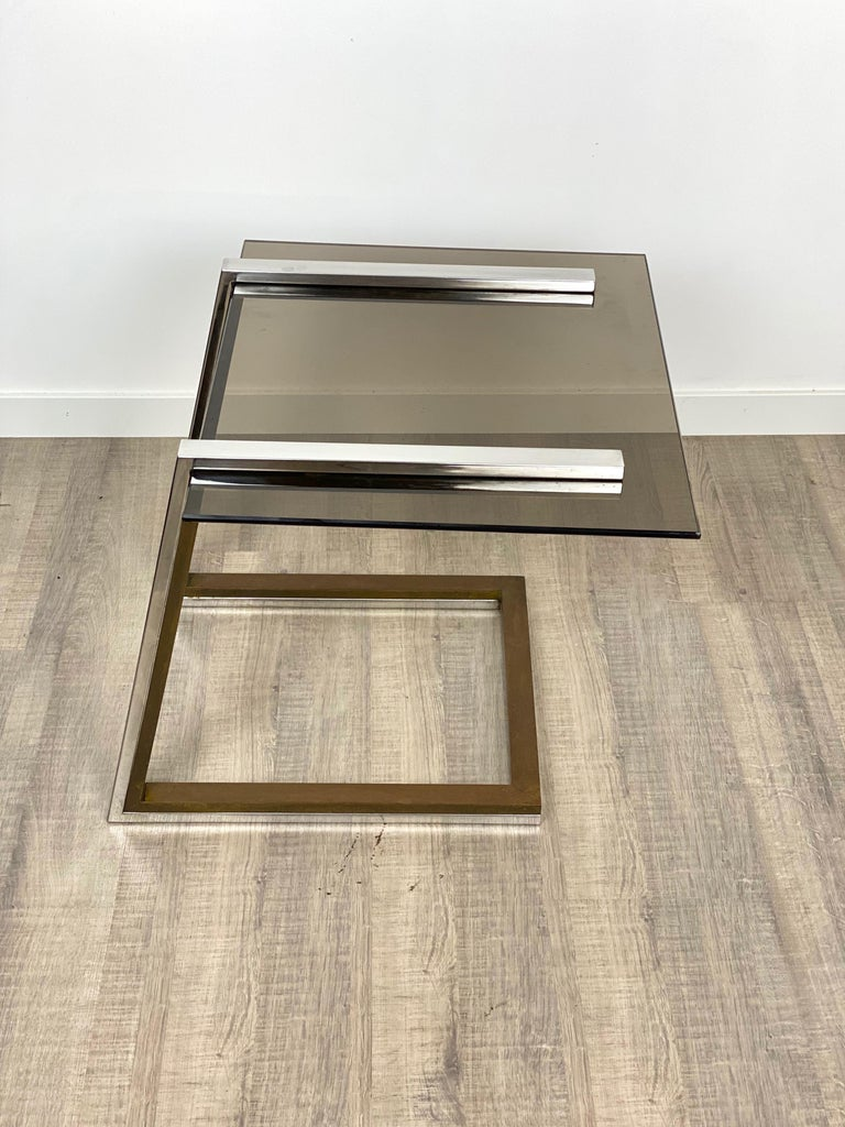 Coffee Side Table Brass Chrome and Smoked Glass Italy 1970s Romeo Rega style For Sale 5
