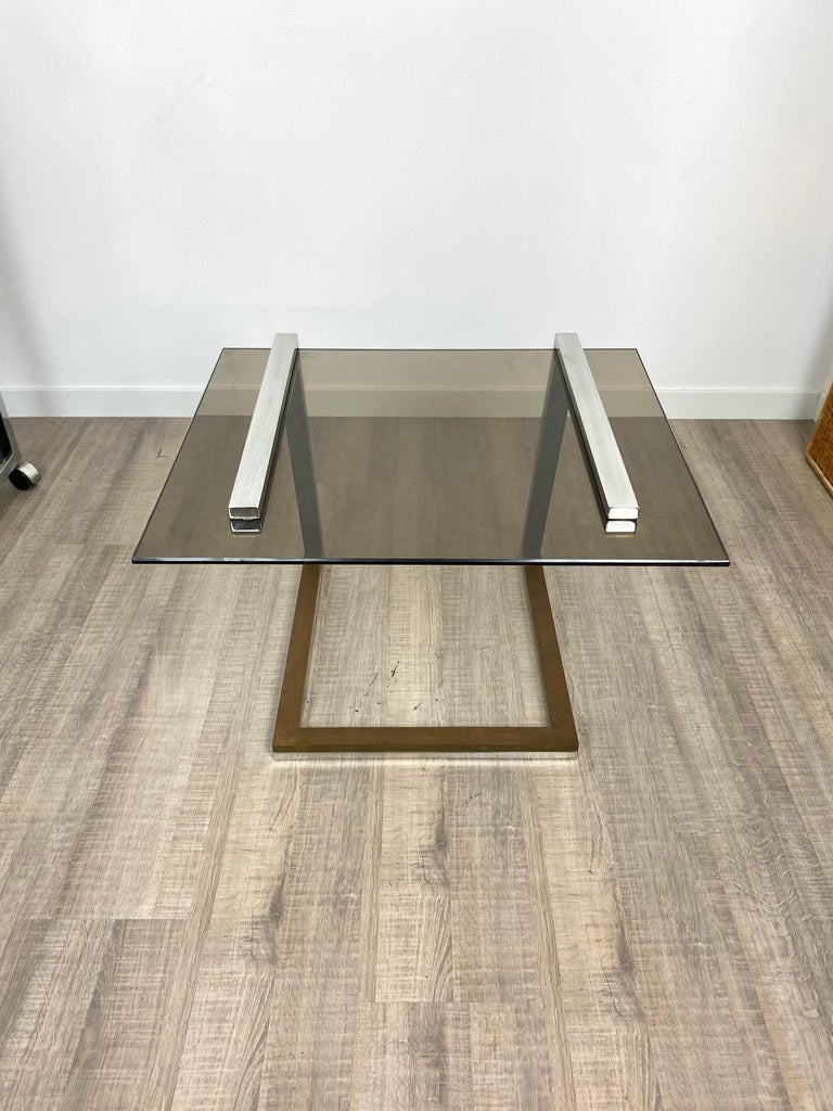 Coffee Side Table Brass Chrome and Smoked Glass Italy 1970s Romeo Rega style For Sale 6