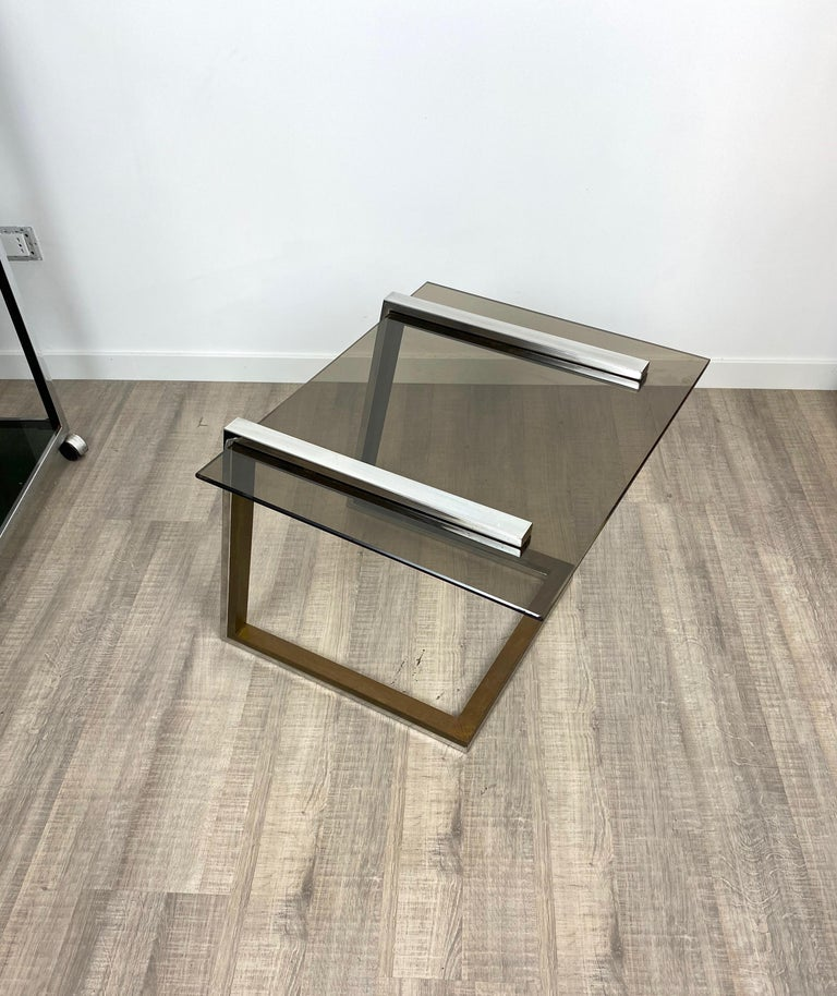 Mid-Century Modern Coffee Side Table Brass Chrome and Smoked Glass Italy 1970s Romeo Rega style For Sale