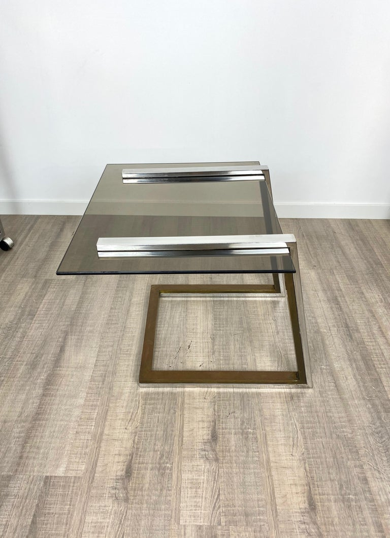 Late 20th Century Coffee Side Table Brass Chrome and Smoked Glass Italy 1970s Romeo Rega style For Sale