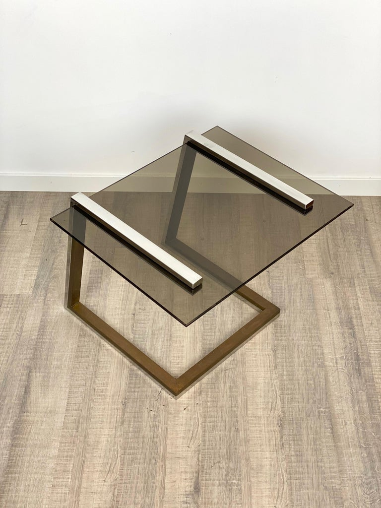 Metal Coffee Side Table Brass Chrome and Smoked Glass Italy 1970s Romeo Rega style For Sale