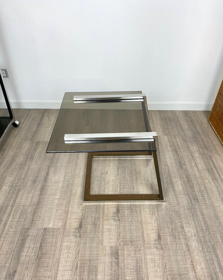 Coffee Side Table Brass Chrome and Smoked Glass Italy 1970s Romeo Rega style For Sale 1
