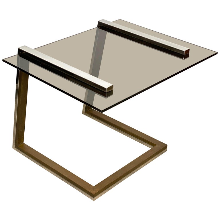 Coffee Side Table Brass Chrome and Smoked Glass Italy 1970s Romeo Rega style For Sale