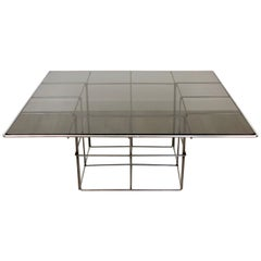 Coffee Side Table Cage Effect in Metal and Smoked Glass, Verner Panton Style