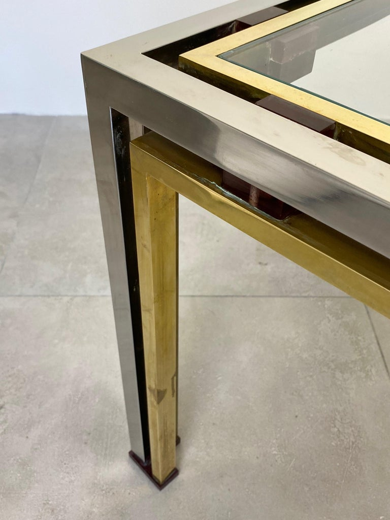 Coffee Side Table Romeo Rega in Chrome, Glass, Lucite and Brass, Italy, 1970s For Sale 3