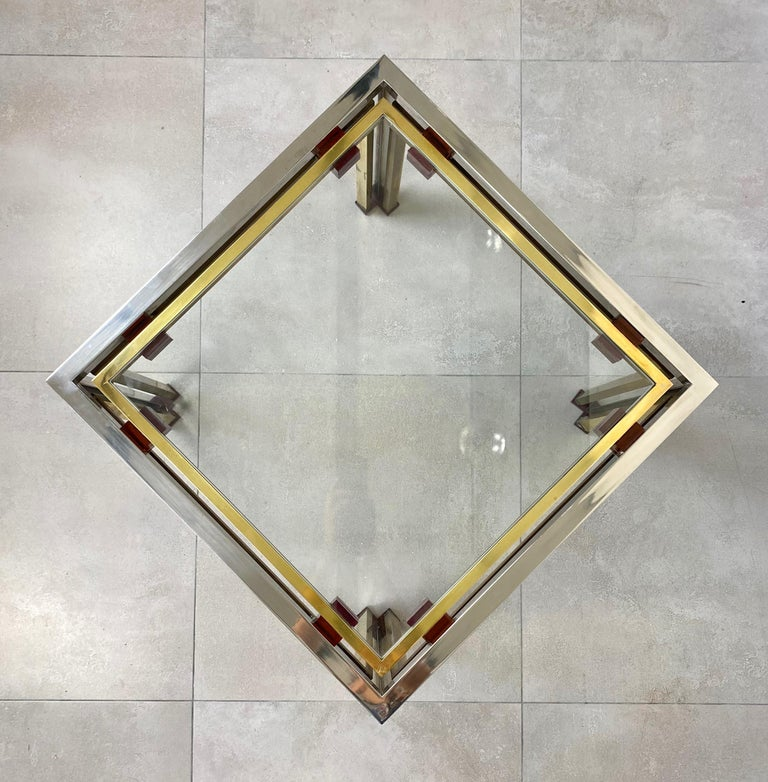 Coffee Side Table Romeo Rega in Chrome, Glass, Lucite and Brass, Italy, 1970s For Sale 4