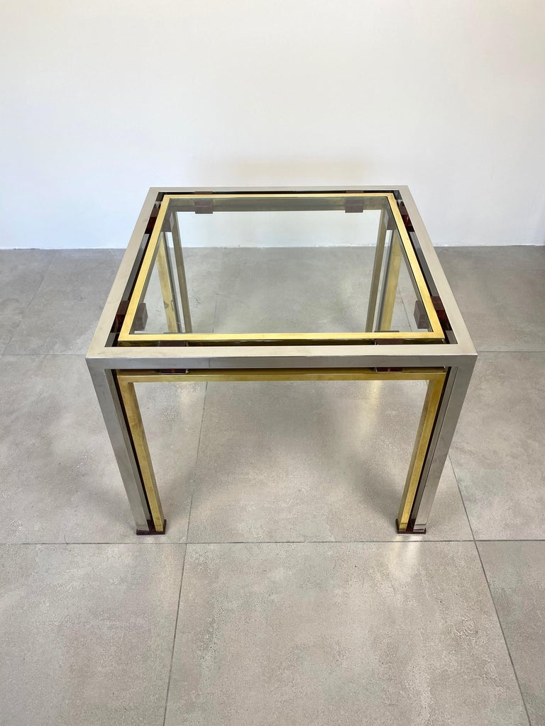 Coffee side table by the Italian designer Romeo Rega in chrome, Lucite and brass, Italy, 1970s.