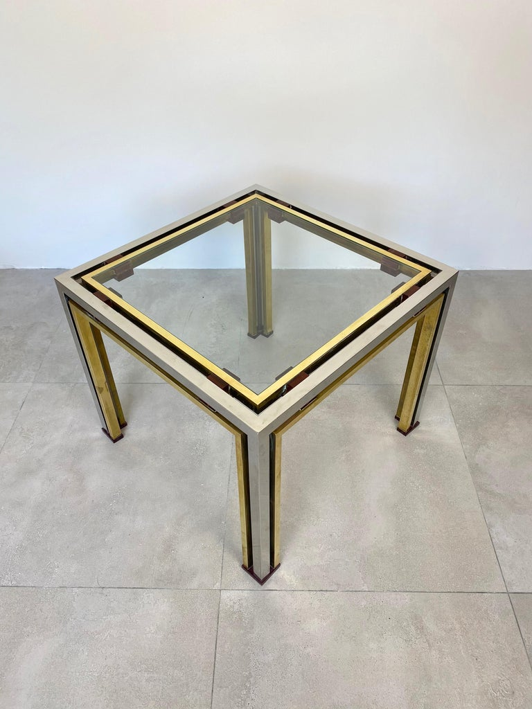 Mid-Century Modern Coffee Side Table Romeo Rega in Chrome, Glass, Lucite and Brass, Italy, 1970s For Sale