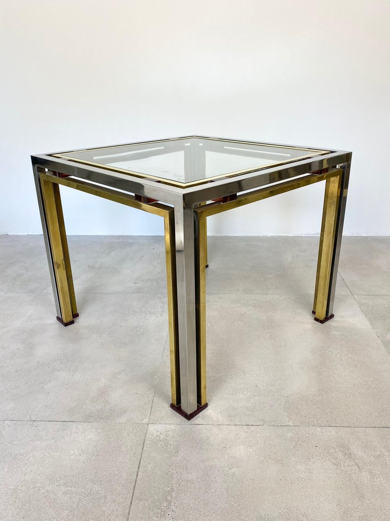 Italian Coffee Side Table Romeo Rega in Chrome, Glass, Lucite and Brass, Italy, 1970s For Sale