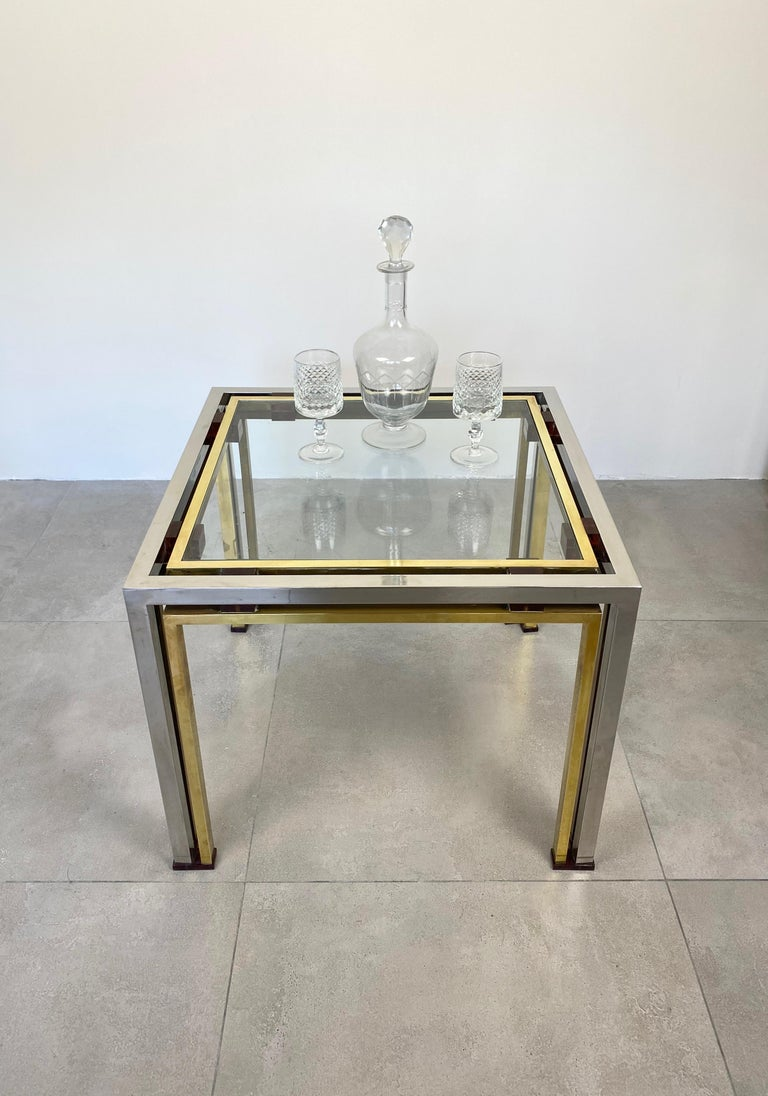 Coffee Side Table Romeo Rega in Chrome, Glass, Lucite and Brass, Italy, 1970s In Good Condition For Sale In Rome, IT