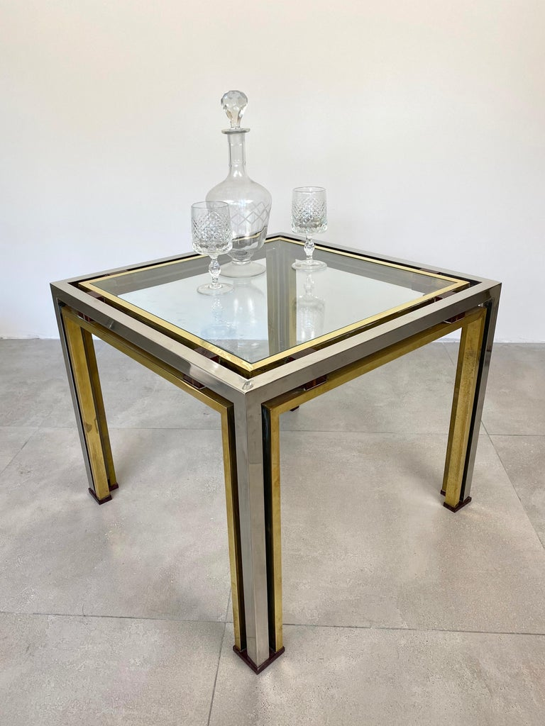 Late 20th Century Coffee Side Table Romeo Rega in Chrome, Glass, Lucite and Brass, Italy, 1970s For Sale