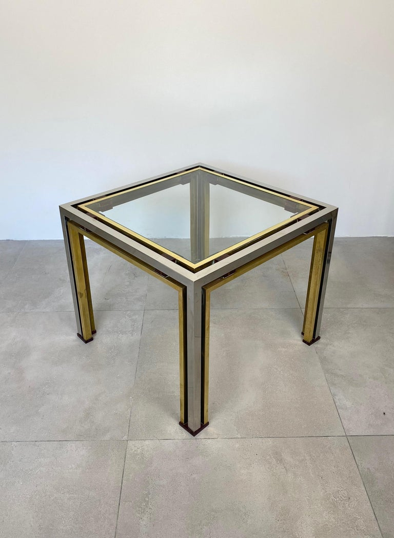 Metal Coffee Side Table Romeo Rega in Chrome, Glass, Lucite and Brass, Italy, 1970s For Sale