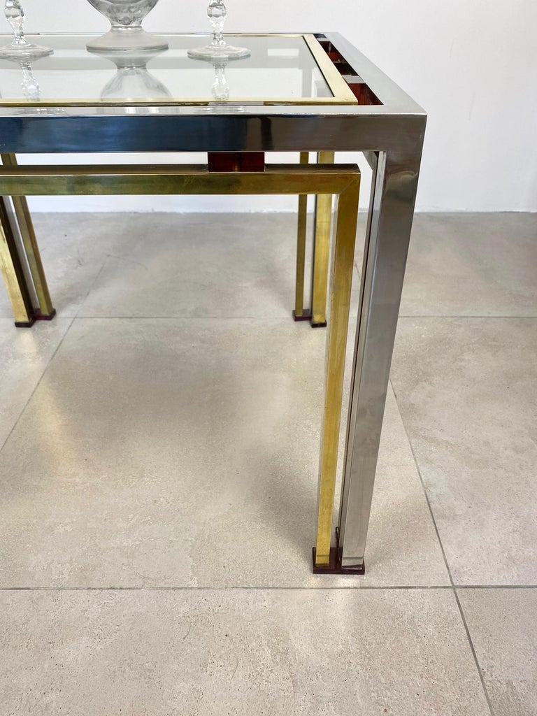 Coffee Side Table Romeo Rega in Chrome, Glass, Lucite and Brass, Italy, 1970s For Sale 1
