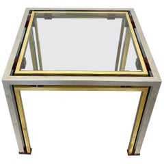 Coffee Side Table Romeo Rega in Chrome, Glass, Lucite and Brass, Italy, 1970s