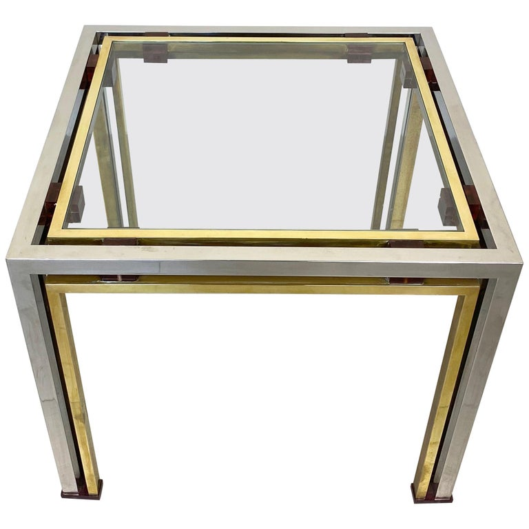 Coffee Side Table Romeo Rega in Chrome, Glass, Lucite and Brass, Italy, 1970s For Sale