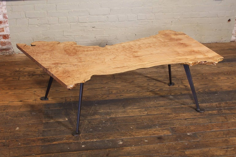Coffee Table Free-Form Live Edge Maple Burl with Steel Legs For Sale 8