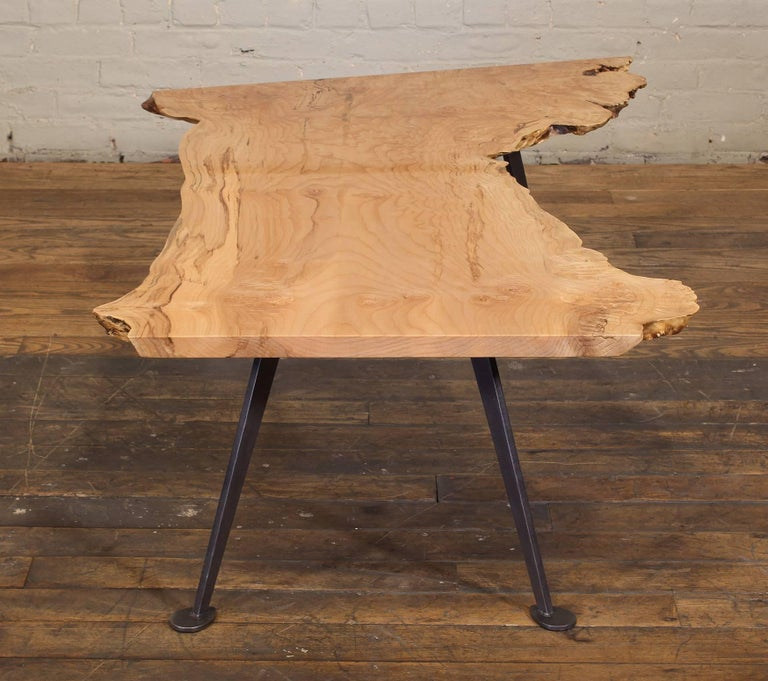 Coffee Table Free-Form Live Edge Maple Burl with Steel Legs For Sale 10