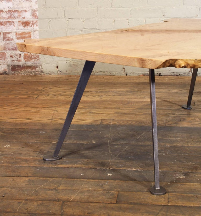 Coffee Table Free-Form Live Edge Maple Burl with Steel Legs For Sale 11