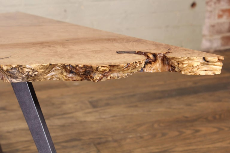Industrial Coffee Table Free-Form Live Edge Maple Burl with Steel Legs For Sale