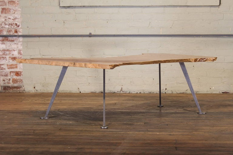 Contemporary Coffee Table Free-Form Live Edge Maple Burl with Steel Legs For Sale