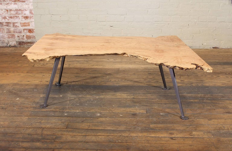 Coffee Table Free-Form Live Edge Maple Burl with Steel Legs For Sale 3
