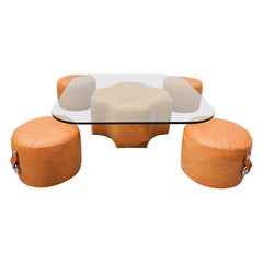 Coffee Table and 4 Stools by Guido Faleschini, Leather, 1970s
