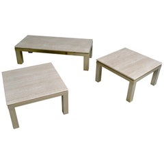 Coffee table and side tables, Travertine, Gold-Plated 23-Carat, by Belgo Chrome
