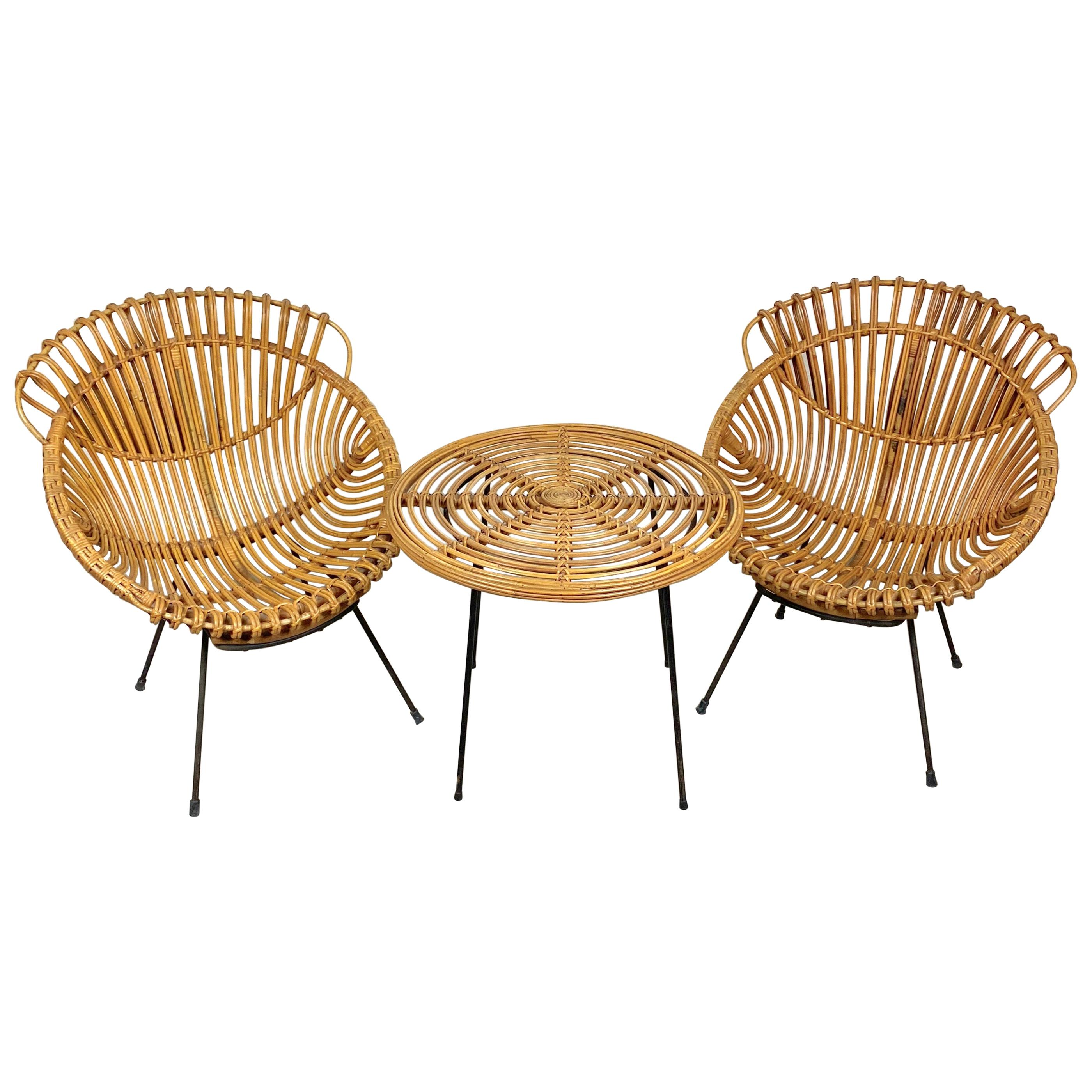 Coffee Table and Two Armchairs in Rattan Wicker and Iron, France, 1960s