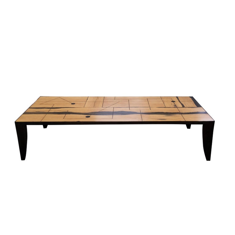 Coffee Table With Bronze Legs: Coffee Table, Antique Tropical Wood, Brass Frame Cast