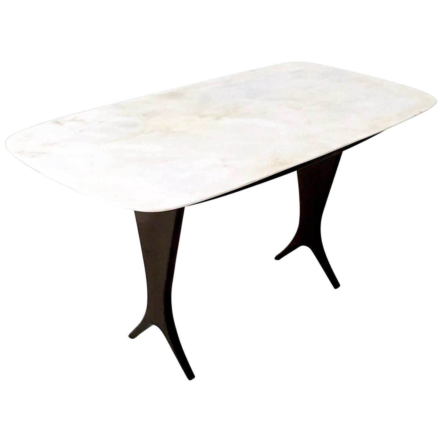 Vintage Coffee Table Attributed to Guglielmo Ulrich with Marble Top, Italy
