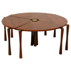 Coffee Table Attributed to Vittorio Gregotti Convertible in Wood and Brass, 1950