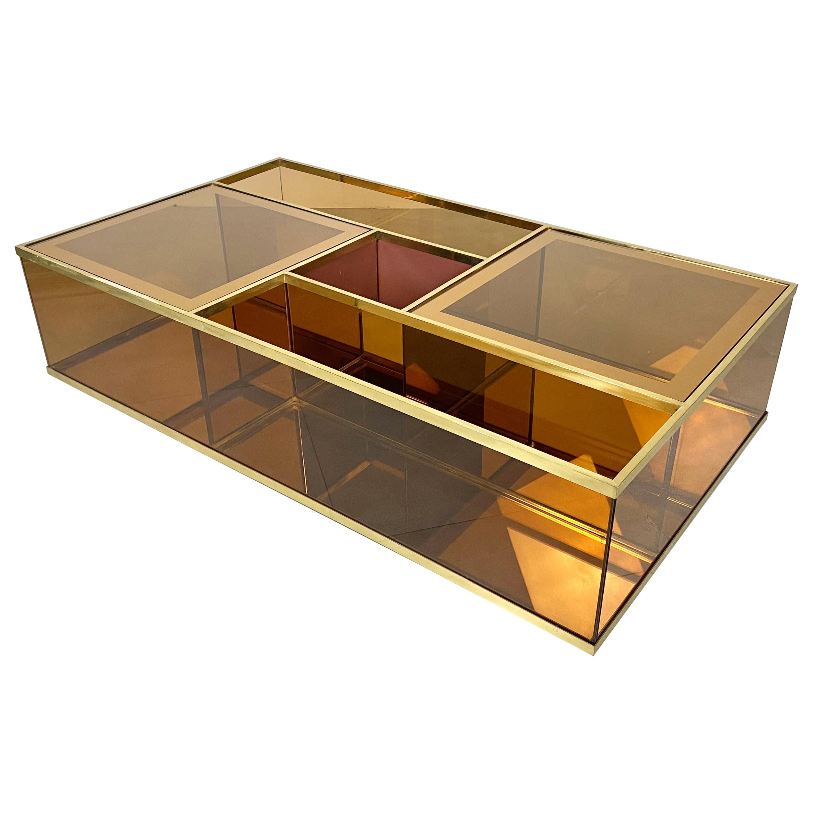 Coffee Table Bar Cart in Brass, Golden Glass and Mirror, Italy, 1970s