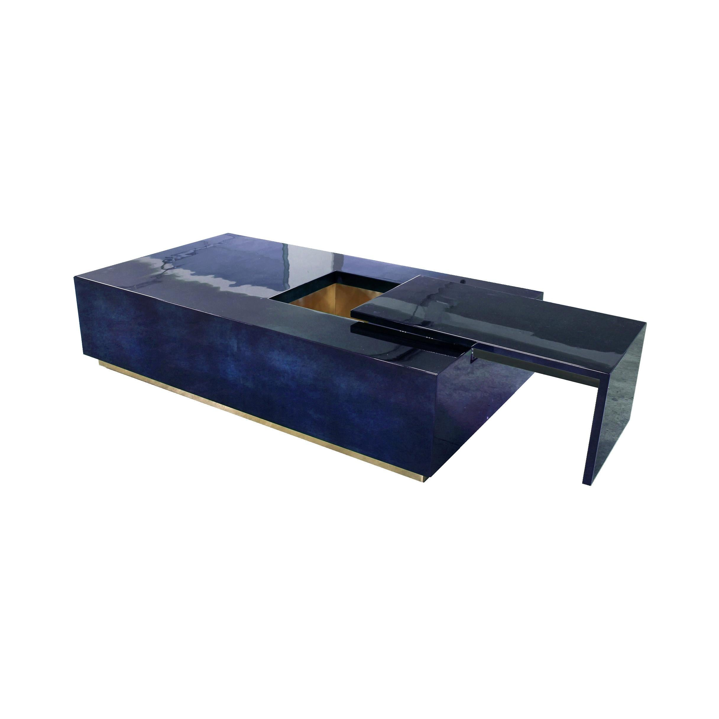 Coffee Table Bar in Lapis Blue Parchment Goatskin