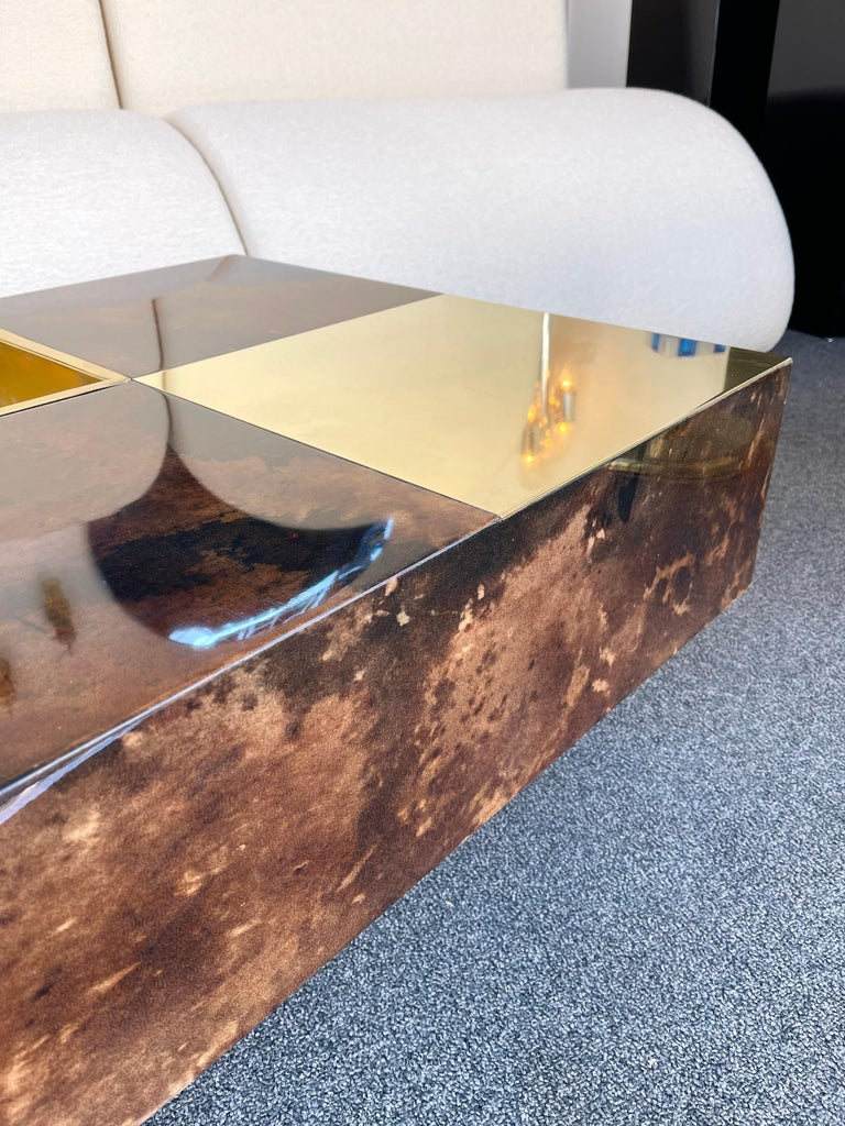 Rare coffee cocktail low table bar in lacquered goatskin parchment and brass by Aldo Tura.