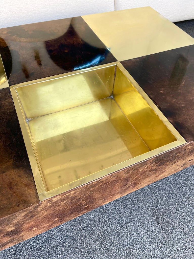 Italian Coffee Table Bar Lacquered Goatskin and Brass by Aldo Tura, Italy, 1970s For Sale
