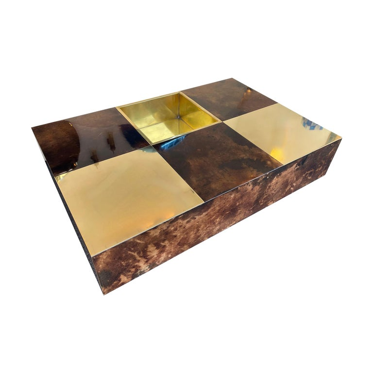 Coffee Table Bar Lacquered Goatskin and Brass by Aldo Tura, Italy, 1970s For Sale