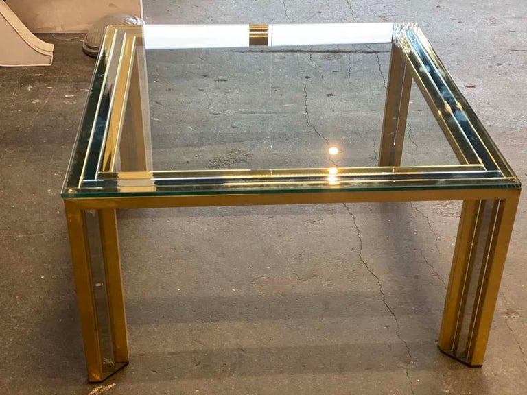The coffee table Bicolore by the designer Willy Rizzo is from Italy of the 1970s. Willy Rizzo, born in Italy in the 1920s, first began his career as a photographer. Only in the late 1960s he began to work as a designer. The reason for this was, or