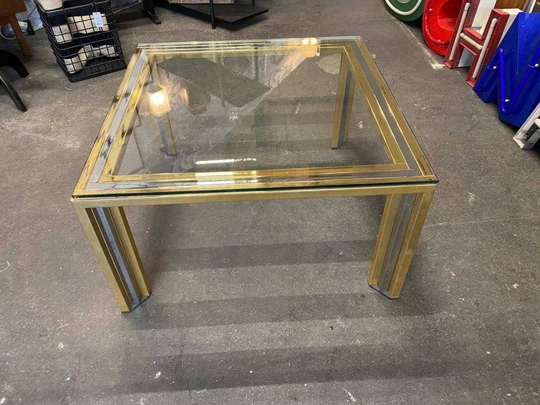 Hollywood Regency Coffee Table Bicolore by Willy Rizzo, Italy, 1970s For Sale