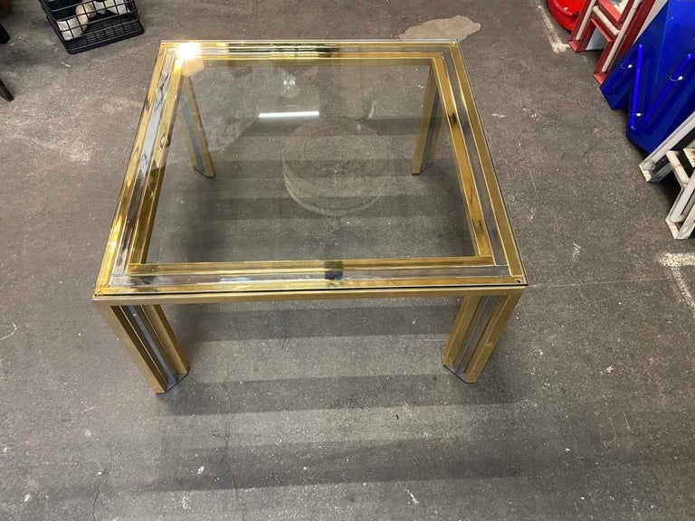European Coffee Table Bicolore by Willy Rizzo, Italy, 1970s For Sale
