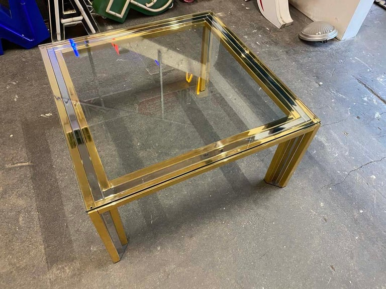 Brass Coffee Table Bicolore by Willy Rizzo, Italy, 1970s For Sale